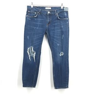 Zara Demin Collection Distressed Cropped Jeans 4